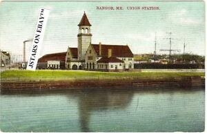 no sale tax run shoes buy cheap Details about c. 1908 BANGOR, ME, UNION STATION TRAIN DEPOT POSTCARD
