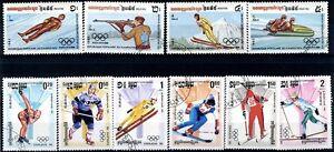 Cambogia-1983-84-Olimpiadi-Invernali-di-Sarajevo-10-valori-usati-m1828