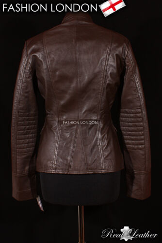 /'LEGION/' Ladies Military Parade Brown Designer Fashion Lambskin Leather Jacket