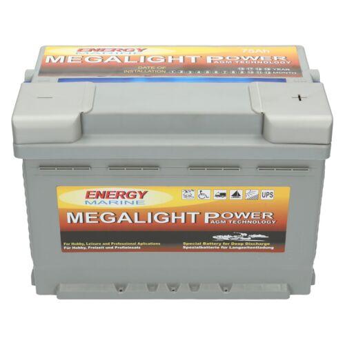 2 x Megalight 12V 75AH AGM Batterie Verbindungskabel für 24 Volt Außenborder