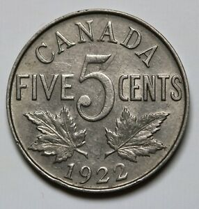 1922-Canada-5-Cents-Coin-George-V-KM-29-EF