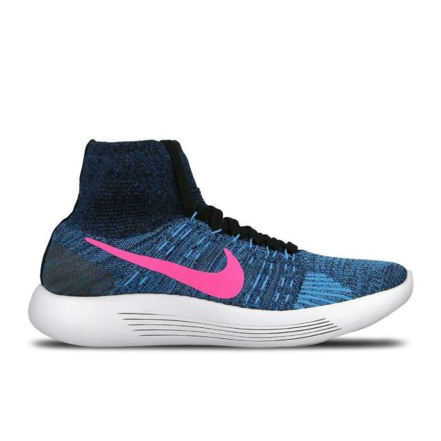 63f2106d1255 Nike Women Lunarepic Flyknit Running Shoes Blue Pink Size 8.5 818677 ...