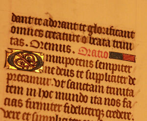 16th-cent-Latin-decorated-medieval-manuscript-GOLD-caps-Book-of-hours-psalm-RARE