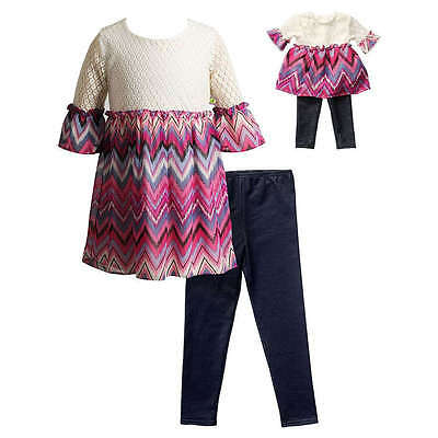 "Girl 4-12 and 18/"" Doll Matching Pink Tutu Tunic Legging Outfit fit American Girl"