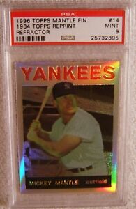 MICKEY-MANTLE-1996-FINEST-REFRACTOR-14-1964-TOPPS-PSA-9-MINT-VERY-RARE-YANKEES