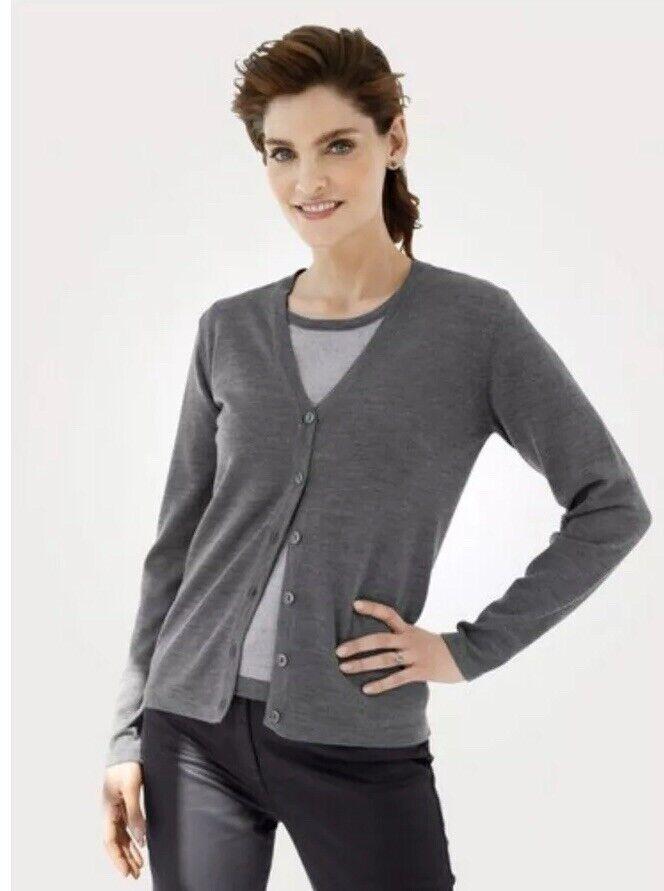 % # Mona Femme Twin-set Haut/cardigan Pure Laine Mérinos Gris Taille Uk 16