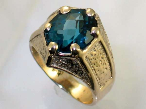 London bluee Topaz, Solid 10KY or 14KY gold Gothic Men's Ring, R234-Handmade