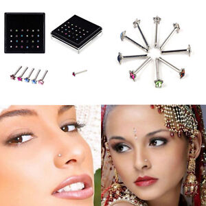 24Pcs-Strass-acciaio-chirurgico-Star-Nose-Ring-Bone-Stud-Body-Piercing-Jewel-KT
