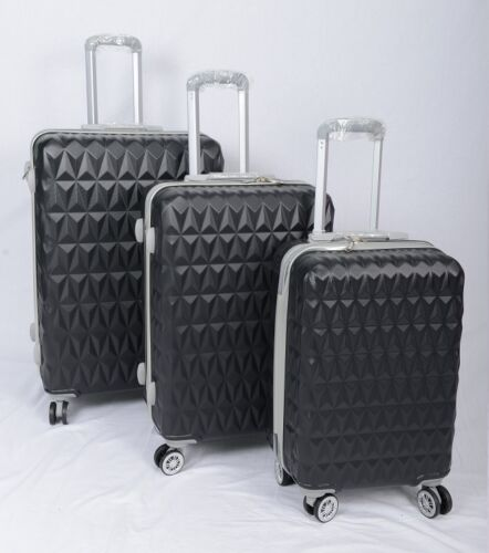 "Valise 4 roues spinner Rigide Chariot Bagage Cabine case 20/"" 24/"" 28/"" Noir"