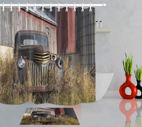 """ANCIENNE VINTAGE FARM TRUCK par Barn Rideau de douche Set Tissu Imperméable Crochets 72x72/"""""""