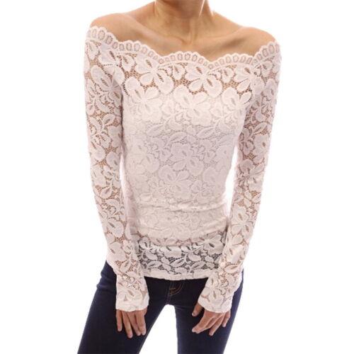 Women Off Shoulder Blouses Ladies Lace Fashion Slim Floral Long Sleeve Shirts