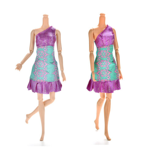 1Pc Purple and Green Single Shoulder Dresses for s Princess Dolls14cm P Ri