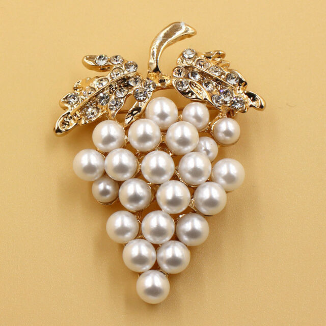 Grapes Brooches Gold Plated Pearl Brooch Rhinestone Charm Scarf Buckle Pin NATSU