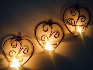 3-heart-Metal-Wall-Art-Sconce-set-6-peice-Glass-Tea-Light-candle-Holders-decor