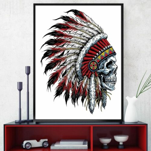 Indian Skull Wall Art Canvas for Room Wall Decor Skeleton Head Tattoo Poster