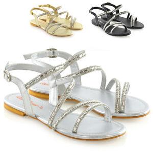 Senoras-para-mujer-Sandalias-Planas-Con-Tiras-T-Bar-Embellecido-Diamante-Brillante-Zapatos-Talla
