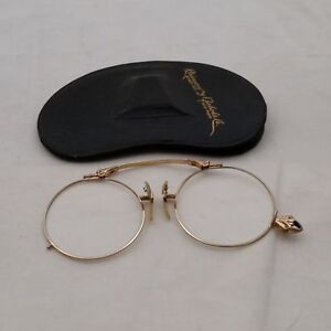 G-amp-W-Pince-Nez-12k-Gold-Fill-Eyeglasses-and-Case
