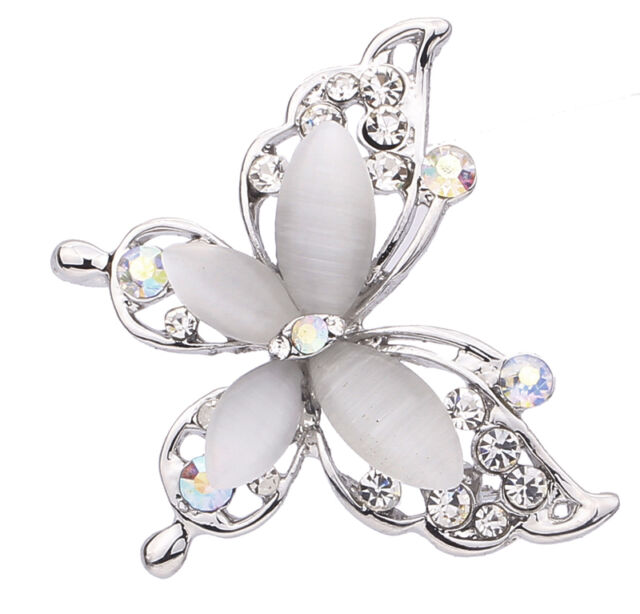 Charming Silver Plated Chic Butterfly Design Resin Crystal Rhinestone Brooch Pin