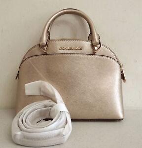 Michael Kors EMMY Small Dome Satchel Crossbody Gold Leather Handbag ... 4ac77092f05bb