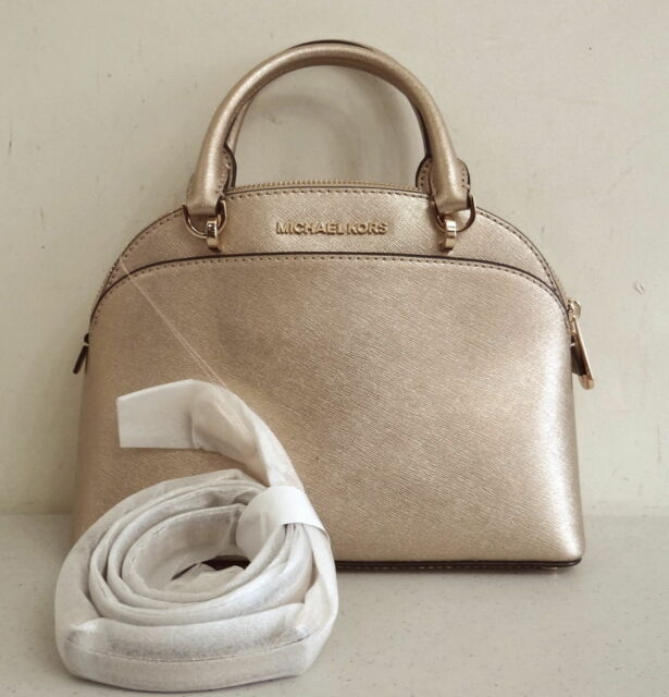 bbe9ee001e32 ... france michael kors emmy small dome satchel crossbody gold leather  handbag 41920 bf863
