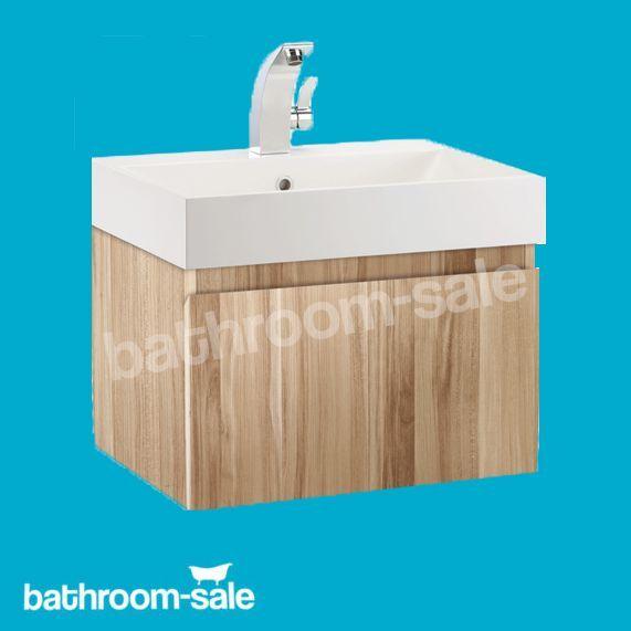 Mino 500 Oak Wall Hung Bathroom Basin Unit With Basin Complete