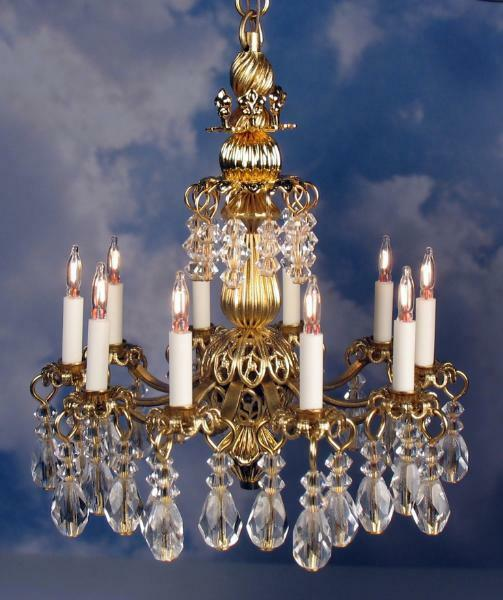 Dollhouse Miniature Lighting Electrical CHANDELIER  SCARLET  - oro Handcrafted