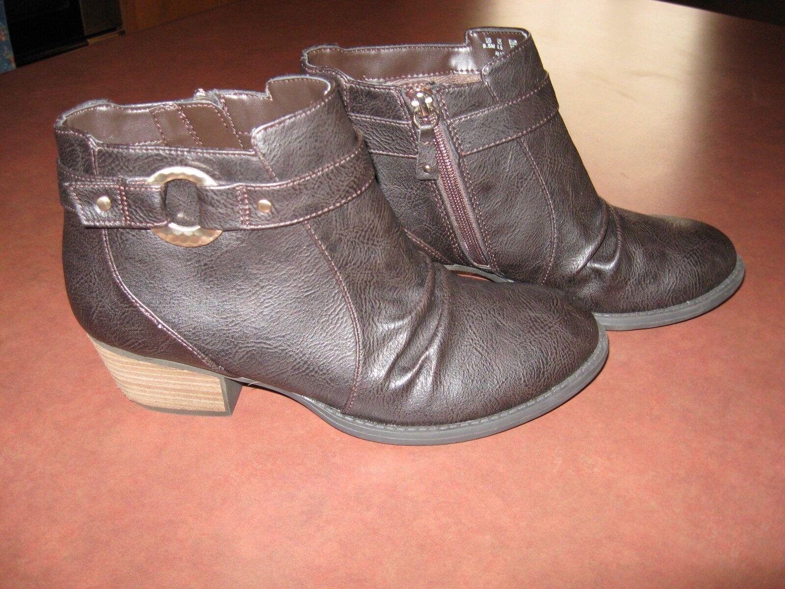 Dr. Scholls Dark Zip/Elastic Brown Ankle Boots Booties Memory Foam Zip/Elastic Dark Size 8.5M b3fca0