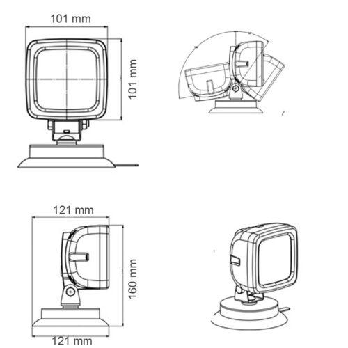 7 m Spiralkabel LED-MARTIN® Arbeitsscheinwerfer mit Magnetfuß Bau Schalter