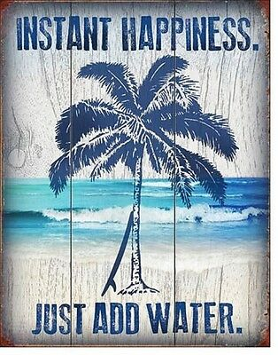 Instant Happiness TIN SIGN surfing blue palm tree beach cottage home bar 2039-A