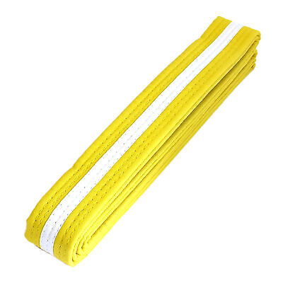 "NEW Taekwondo Karate Martial Arts 1.5/"" Wide Double Wrap Stripe Belt Yellow//White"