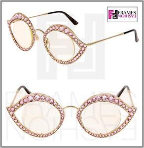 69167229498 GUCCI CRYSTAL LIPS Stud 0046 Gold Pink Metal RX Frame Glasses ...