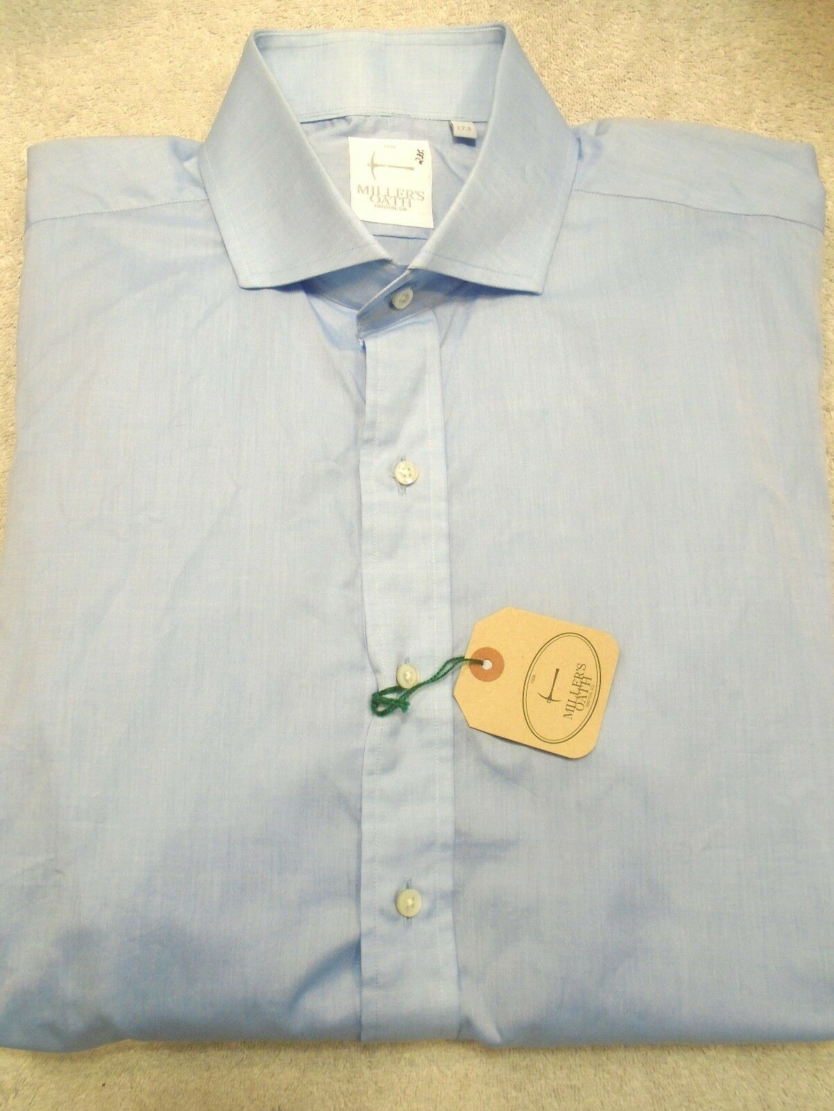 Millers Oath Light bluee Cotton Broadcloth Dress Shirt NWT 17.5 x 37