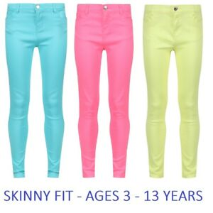 Girls-Plain-Skinny-Jeans-Trousers-Turquoise-Blue-Yellow-Pink-Age-3-4-5-6-7-8-9