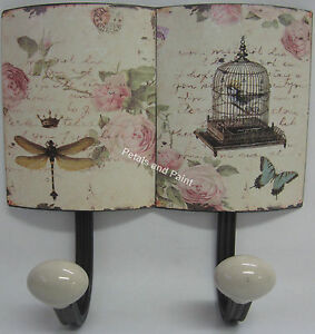 2-Hooks-Wall-Rack-in-French-Provincial-Country-Style-Hook-Roses-Butterfly-Bird