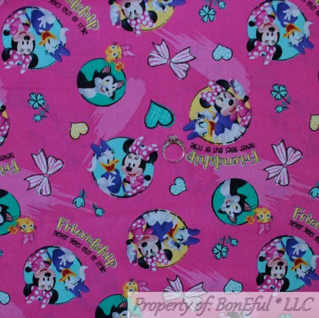 bc00c50c7 BonEful Fabric Cotton Quilt Pink Minnie Mouse Daisy Duck Disney Dot Girl  SCRAP