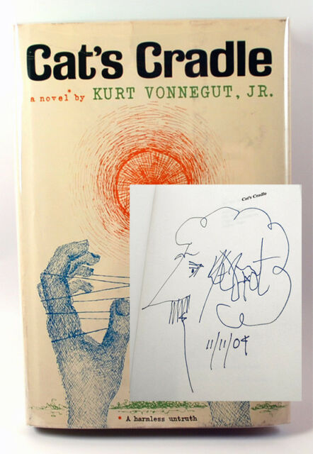 Kurt Vonnegut CAT'S CRADLE First Edition Signed Dated with Self-Portrait F/NF