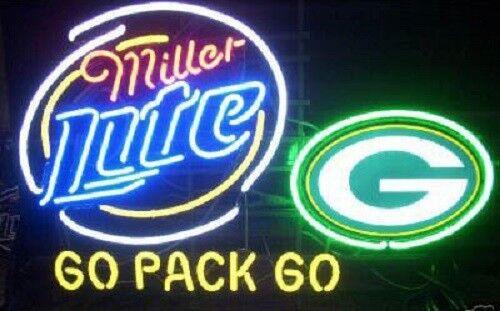 "New Miller Lite Green Bay Packers Go Pack Beer Bar Pub Neon Light Sign 24/""x20/"""