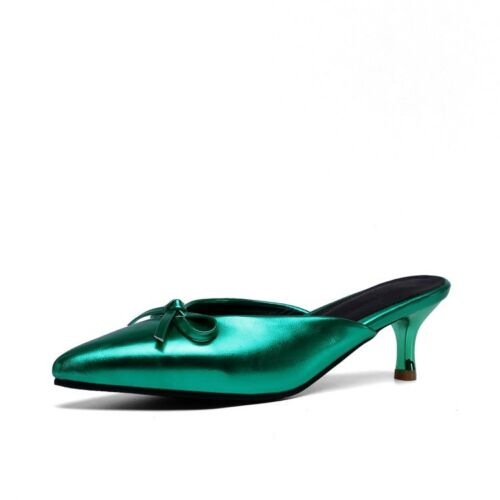Woemns Patent Leather Kitten Heel Pointed Toe Shinning Bowknot Mule Slides Shoes