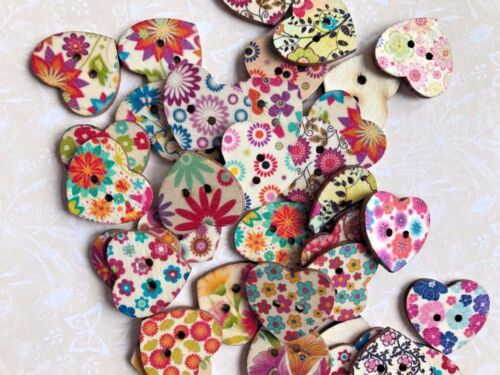 Heart Star Buttons Multicoloured Wooden sewing craft scrapbooking floral