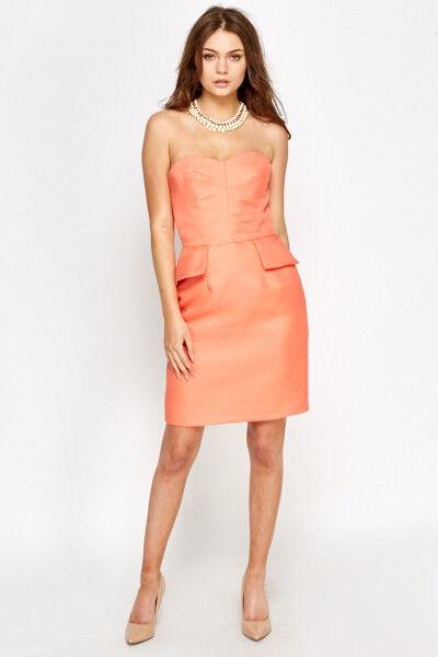 42020eeb3cc8 BNWT Warehouse coral bandeau bodycon sheath Size 12 peplum Dress nqmlwt2874- Dresses