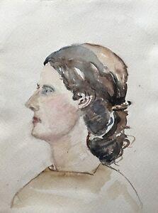 Acuarela-Portrait-mujer-con-rulos-marron-30-x-40-cm