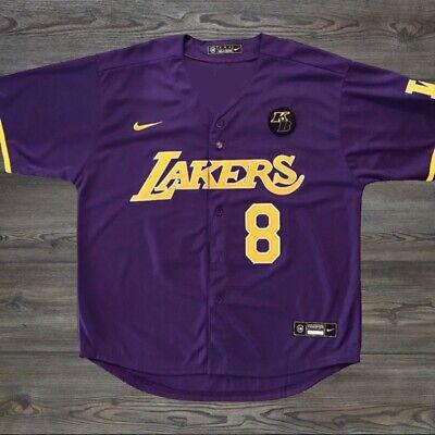Kobe Bryant Black Mamba Jersey MLB Style Purple Lakers 8 24 KB Patch Size XL   eBay