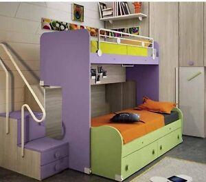 Letto a castello scorrevole salvaspazio c scaletta a gradini c cassetti catas 28 ebay - Scaletta per letto a castello ...