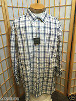 Synrgy Blue White Plaids Long Sleeve Dress Shirt Mens Size 2xl