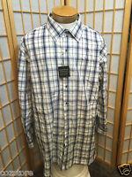 Synrgy Blue White Plaids Long Sleeve Dress Shirt Mens Size 2xl