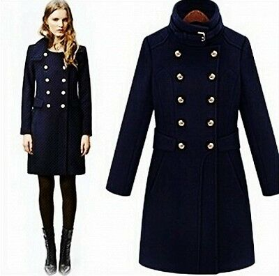 British Style Womens Wool Blend Double-breasted Military Long Jackets Coats Slim