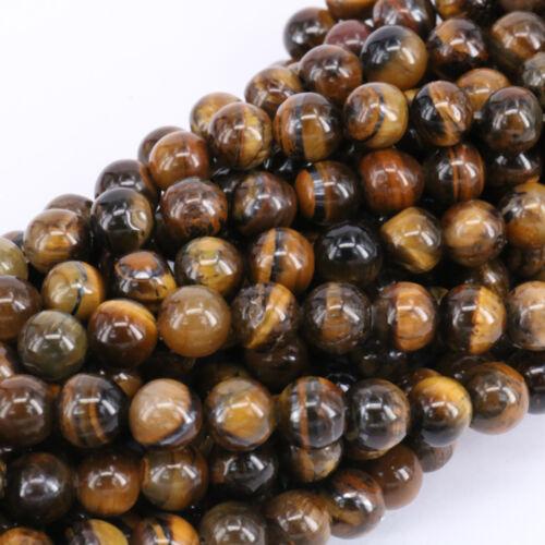 "15/"" Naturelle Jaune Oeil de tigre Gem Round Loose Beads Strand Jewelry Finding 4-10 mm"