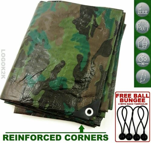 CAMOUFLAGE BÂCHE Forte Armée camping ground outdoor Bungee Balls