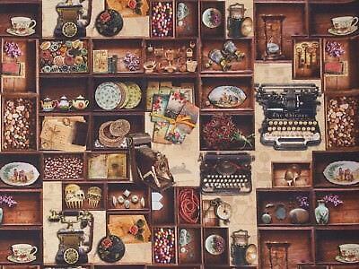 Stoffe Baumwolle Panamabindung Digitaldruck Deko Stoff Gardine Vintage Nr.6
