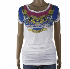 Love-Moschino-Taglia-42-Maglietta-T-Shirt-Blusa-Maniche-Corte-Girocollo-Donna